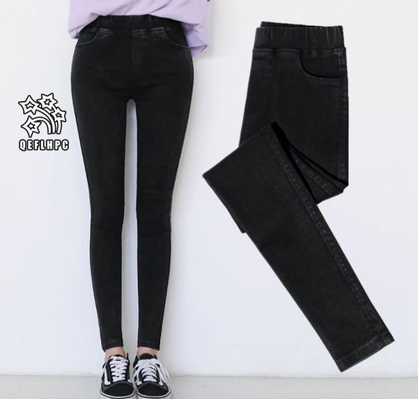 2018 Damen engen Hosen Leggings Mode lässig Damen Hosen Elastizität Baumwollmischung Warm halten Belüftung Frauen Bleistift Hose schwarz A506