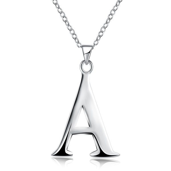 Letters A-Z Charms Pendants Silver 45cm Necklace , Good Quality Fashion 925 Silver Chains Necklaces Jewelry Free Shipping New Brand n975