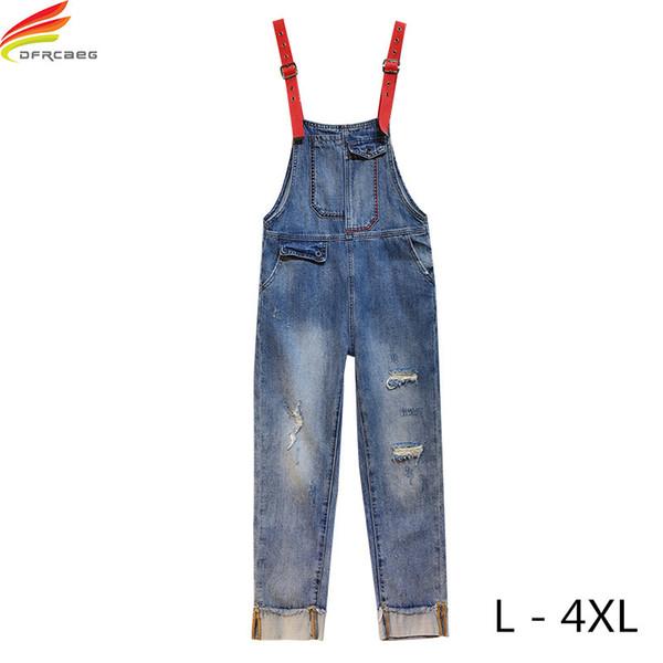 Plus Size L - 4XL Denim Jumpsuits For Women 2018 Summer Latest Style Pockets Blue Full Length Denim Jeans Jumpsuit Jeans Rompers