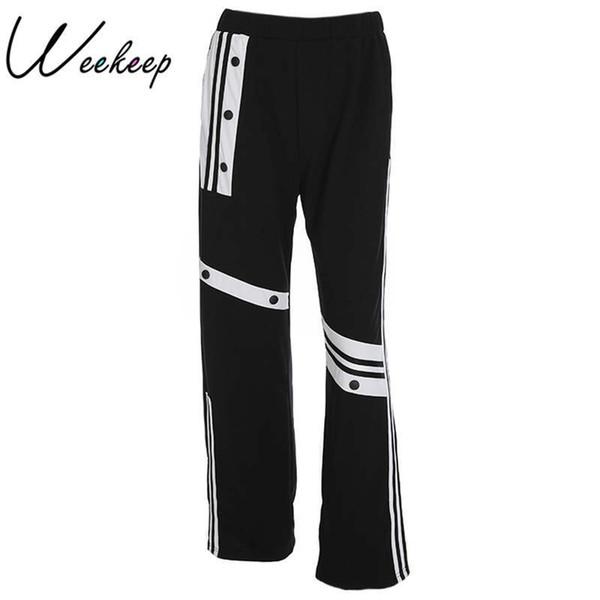 2878956802 Weekeep Mujeres Pantalones de Cintura Alta de Pierna Ancha Negro Patchwork Negro  Suelta Pantalones de Las