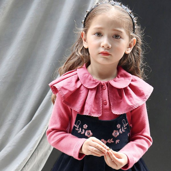 Child T-shirts Fall&Spring fashion cotton parquet lace solid kids clothes Long-sleeve breathable fabric plaid solid cloth for small girls
