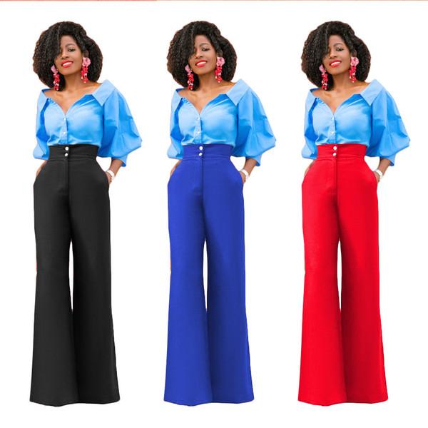 Pantalones de pierna ancha de la manera atractiva de las mujeres de la manera pantalones de la braga de la oficina del trabajo de la señora de la señora