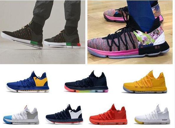 premium selection 0e44a 2254a 2018 New Zoom KD 10 Anniversary PE BHM Oreo triple Men Shoes KD 10 Elite Low