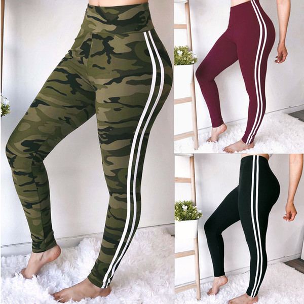 Side Stripe Leggings Women Fashion High Waist Workout Leggings Female Camouflage Print Fitness Leggins Mujer