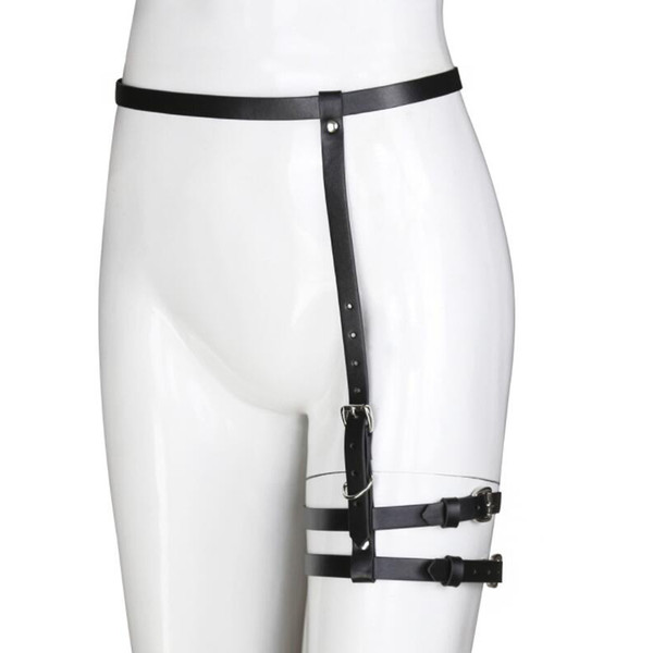 Sexy Harajuku Handmade Punk Rock Goth Bow Garter Belts Leg metal ring double Suspenders Straps Detachable O-ring leg harness