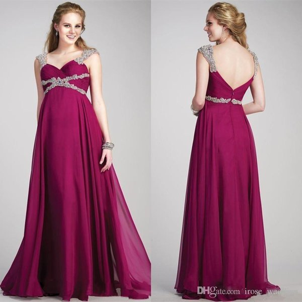 2018 Burgundy Chiffon Evening Dresses for Pregnant Women Sexy Spaghetti Crystals Backless Empire Floor Length Chiffon Maternity Prom Dress