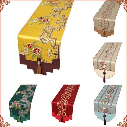 Classic Luxury Thicken Chinese Silk Table Runner High End Christmas Dinner Party Table Decoration Damask Table Cloth Rectangle 250x33 cm