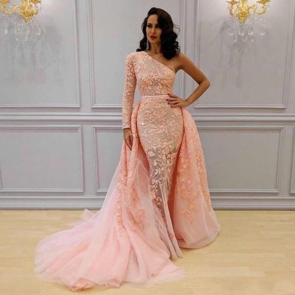2018 African Peach Pink Overskirts Yousef Aljasmi Prom Dresses Long One Shoulder Mermaid Evening Dress Lace Tulle Party Gowns