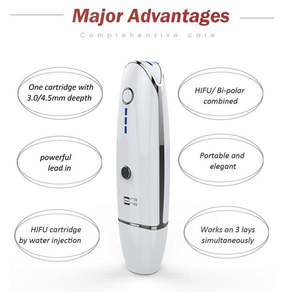 Nueva tecnología portátil Vmax HIFU máquina de ultrasonido de estiramiento facial 3.0-4.5MM Eliminación de arrugas Dispositivo de belleza de la piel antienvejecimiento