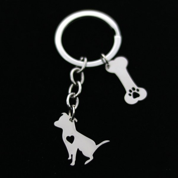 Silver Keyring with tail Miniature Schnauzer