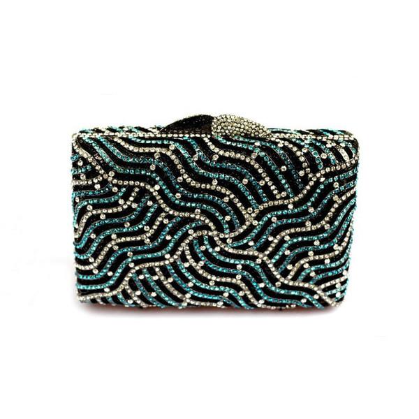 Hochwertige Designer-Handtaschen für Frauen Wave Pattern Blue Crystal Clutch Abendtaschen Mini Size Blue Bridal Handtasche und Geldbörsen