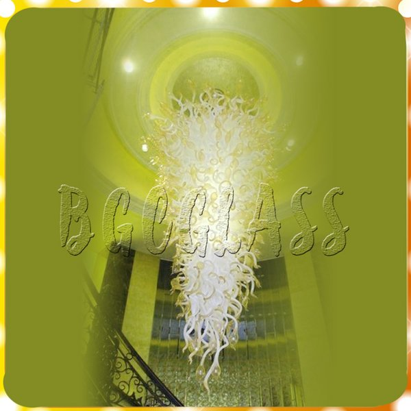 Lampadario di vetro moderno colorato giallo all'ingrosso Lampadario in vetro soffiato a mano in vetro di Murano Sospensione sospesa Lampadario in stile Chihuly
