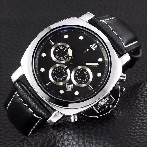 45mm Men's Watches Luxury Brand Steel Watch Case Black Face Leather Band Luminous Waterproof Japan Move Quartz Battery Mens Wristwatches PN3