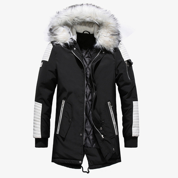 2018 Winter Jacket Men Fur Collar Hooded Oversized Black Long Parka Coats Pu Thicken Windproof Warm Jackets Outerwear