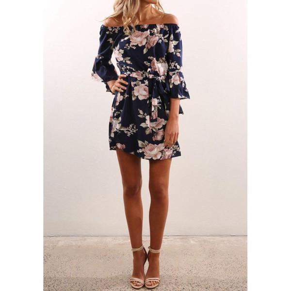 2018 hot Summer clothes print polyester dress sexy slash neck off shoulder floral chiffon cothing party beach dresses vestidos boho AJI-987