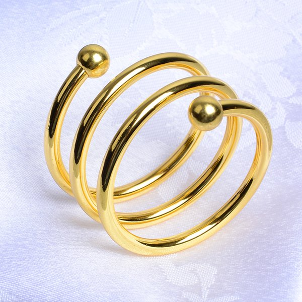 10 pcs luxury gold spiral shape napkin rings metal napkin ring holder for weddings event party banquet hotel table decoration