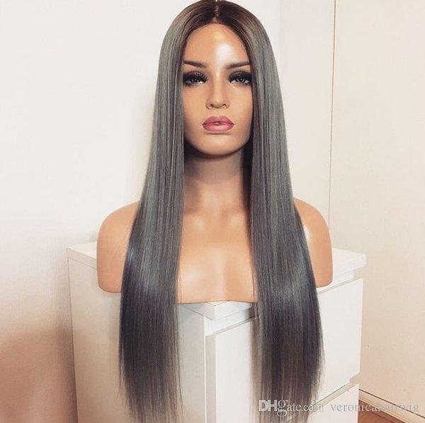 Vente chaude Dark Roots Ombre Gris Couleur Longue Ligne Droite Synthétique Lace Front Perruques Pour Les Femmes Noires Sans Colle Résistant À La Chaleur Fibre Perruques De Cheveux