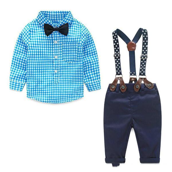 2018 Erkek Bebek Giysileri Bahar Yenidoğan Bebek Setleri Bebek Çocuk Giyim Gentleman Suit Ekose Gömlek + Papyon + Pantolon 2 adet Suits ...