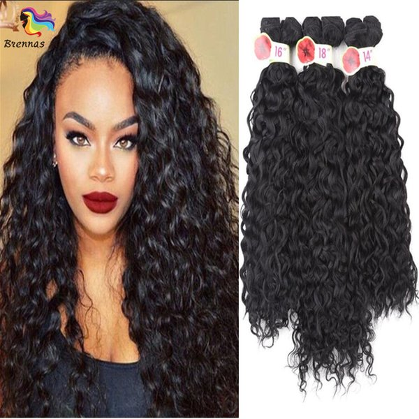synthetic hair extension jerry curly 6pcs/pack synthetic ombre color deep wave hair bundles for black woman 14 16 18inch no shedding