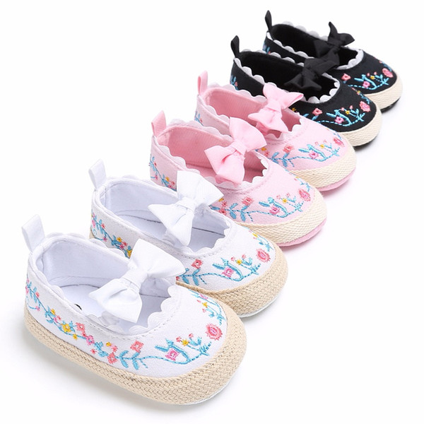 2018 Toddler Newborn Baby Crib Shoes Bow Embroidery Princess Baby Soft Sole Anti-Slip Prewalker For Baby Girls First Walk