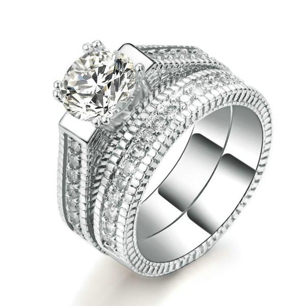 Cor prata de luxo 2 rodadas bijoux moda anel de casamento set cubic zirconia jóias para mulheres como presente chirstmas