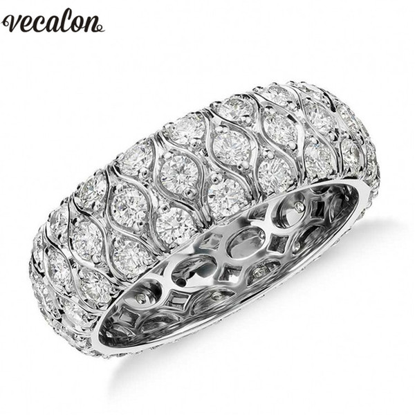 Vecalon Vintage Unique Promise Wedding Bands Ring 925 Sterling Silver Diamond Stone Engagement rings for women Finger Jewelry