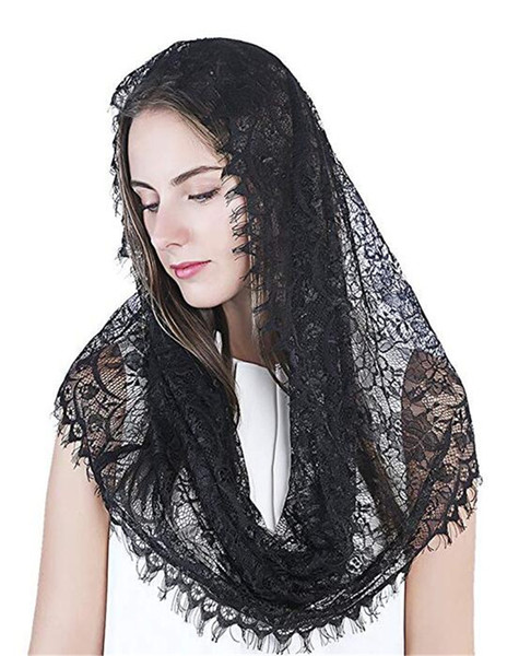 new Black Embroidered Eyelashes Side Veil Mantila Catholic Church Veil Head Covered Chapel Scarf Latin Quality