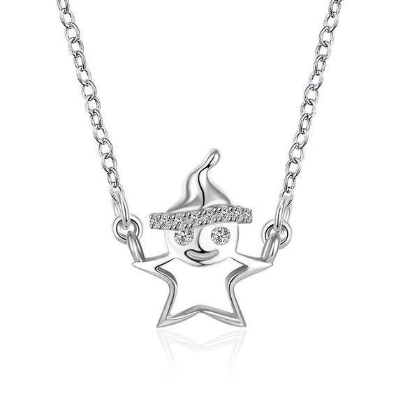 Sterling Silver 925 Necklace Lady Party Jewelry Pure Silver Christmas Man Pendant Necklace Zircon Free Shipping n071