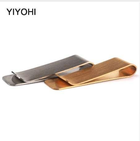 YIYOHI Moda Metallic Money Clip Billetera Hombres de Alta Calidad Simple Oro Plata Dólar Cash Clamp Holder Wallet Para Hombre regalo