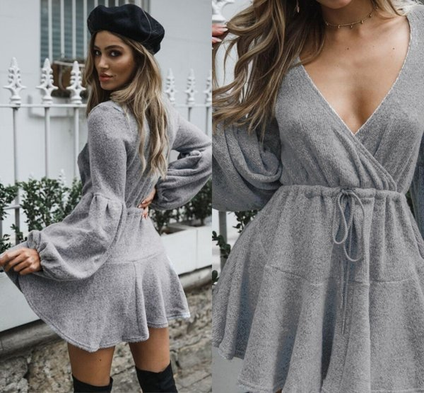 Free Shipping Wholesale Cheap Women Sweater Dresses V Neck Sexy Long Sleeves Above Knee Length Winter Autumn Sweters Dress for Woman FS5850