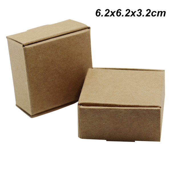50 Pieces 6.2x6.2x3.2 cm Brown Kraft Paper Packing Boxes for DIY Wedding Birthday Party Cardboard Gifts Pearl Accessories Cake Packing Boxes