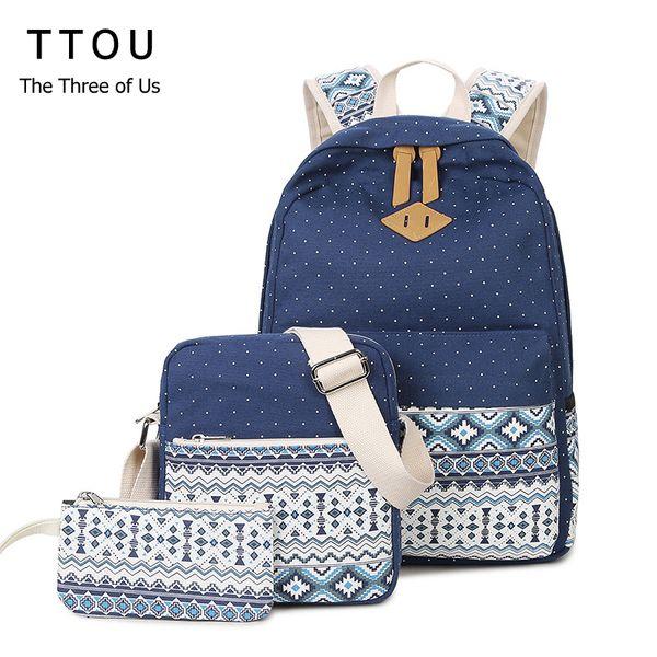 bag TTOU Canvas Printing Backpack Women School Backpack for Teenage Girls Cute Bookbags Laptop Backpacks 3 Piece one Set