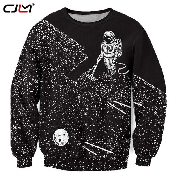 CJLM Black Sweatshirts Men 2018 Spring Autumn 3d Funny Print Space Man Astronaut Hoodies Sweatshirt Hip Hop Round Neck Coats