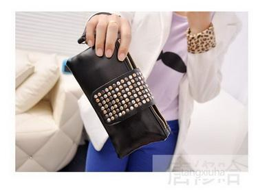 by dhl or ems 200pcs Women Wallets PU Leather Foctory Price Fashion designer Rivet bag Female Double Zipper Clutch Coin Purse