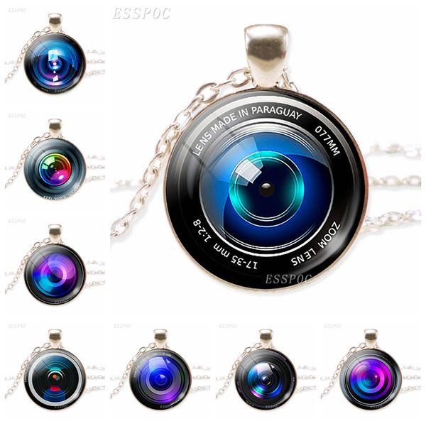 셔터 렌즈 카메라 유리 카보 숑 목걸이 카메라 렌즈 펜던트 쥬얼리 사진사의 목걸이 수제 크리스마스 선물