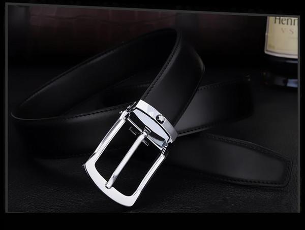 2018 hombres de alta calidad de cuero genuino cinturones de diseño de la correa de los hombres de negocios de lujo correa de cintura cinturones formales para hombres de moda hebilla de pin para los pantalones vaqueros