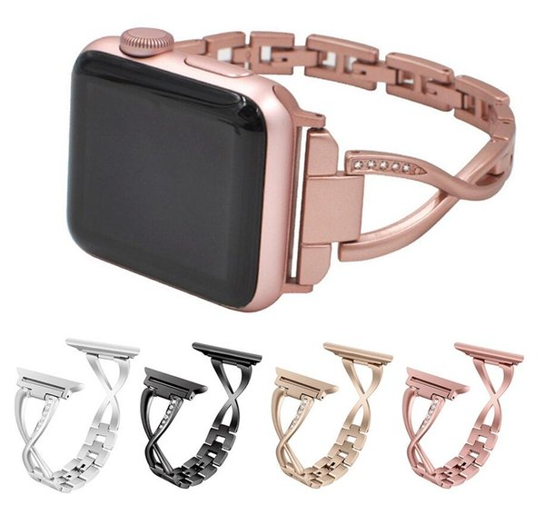 Cinturino di lusso X Bracciale in oro imitato con diamanti 1/2/3 Cinturino in oro per orologio Apple Watch Iwatch 38mm 42mm Cinturino per bracciale