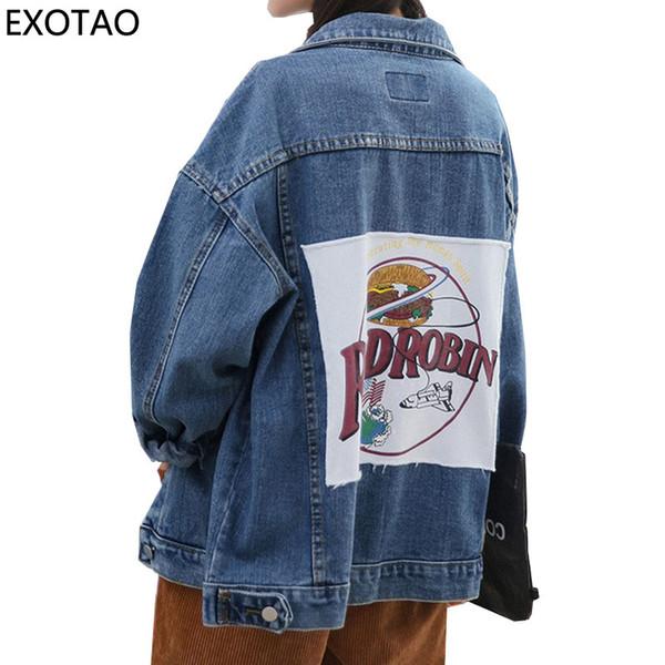 EXOTAO Patch Designs Carta Denim Jaquetas Mulheres Oversized Jeans Abrigos Manga Comprida Casacos Quentes Casuais Manteau Lavado Jaquetas