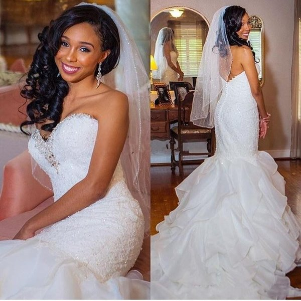 2019 Vintage African Mermaid Wedding Dresses Sweetheart Lace Appliques Beaded Ruffles Tiered Organza Open Back Plus Size Formal Bridal Gowns