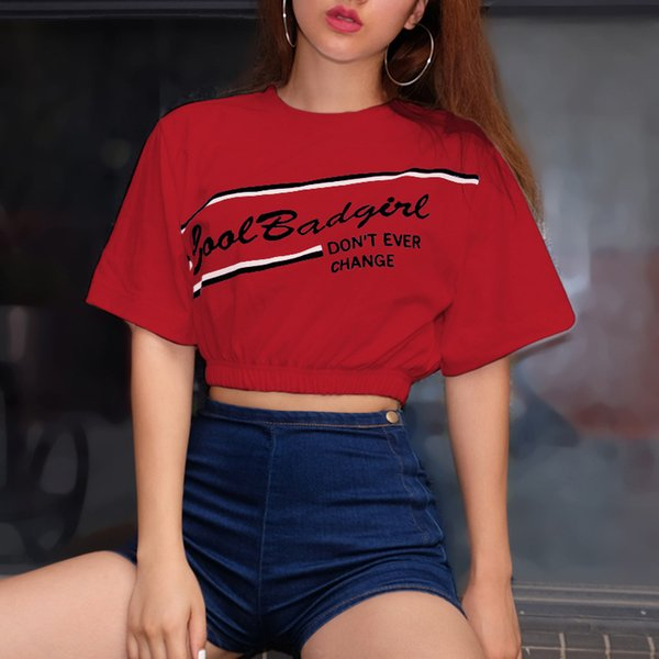 Fashion Summer Girl Short Sleeve Tops Clothes For Women Letter Printed Harajuku T Shirt Red Black Female T-Shirt Camisas Cotton Blouse