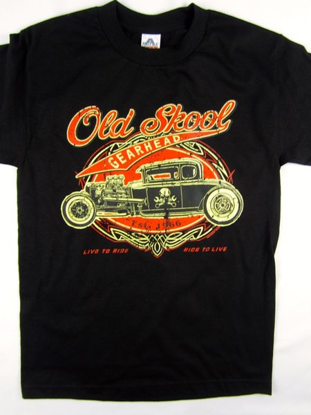 Old School Gear Head hot rod black tee race car garage men's shirt choose A size 2018 New Tee Print Men T-Shirt Tops Hip Hop Short T Shirt