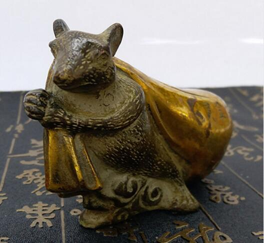 The store direct copper metal craft ornaments special offer mouse fortune gold bag home decor