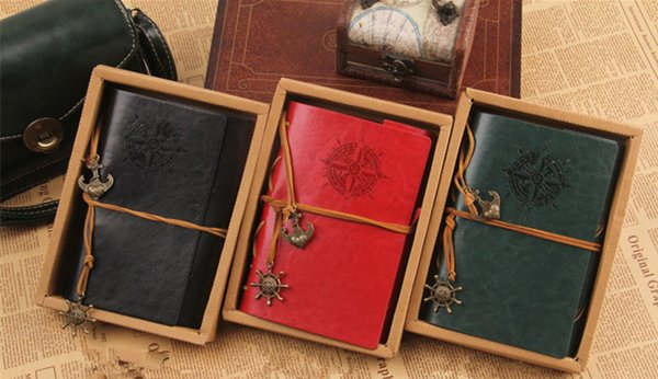 top popular Vintage Leather Travel Journal Notebook Anchor Rudder Decoration Notebook DHL Free Shipping 2021