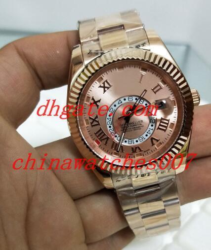 Venda quente de Alta Qualidade de Luxo Relógio de Pulso de Disque 42mm data Marrom De Aço Inoxidável Mecânico Automático Mens Watch Relógios