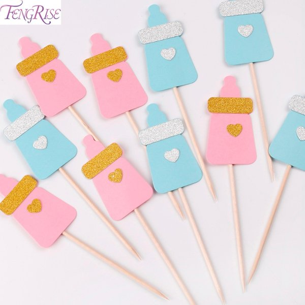 FENGRISE Cake Decoration 1st Birthday Party Cupcake Toppers Its a Boy Girl Baby Shower Kids Favors Baby Feeding Bottles Supplies