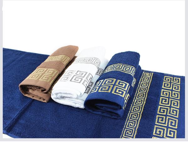 Large Bath Sheet Bath Towel 100% Cotton Solid Color Business Towels White Blue Khaki Color Hand Towel Face Towels