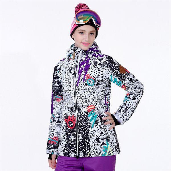 Snowboard Ceket Kadınlar Kış Kayak Ceket Su Geçirmez Yansıtıcı Snowboard Hoodie Kadın Kar Araci Ceket Kış Sportwear