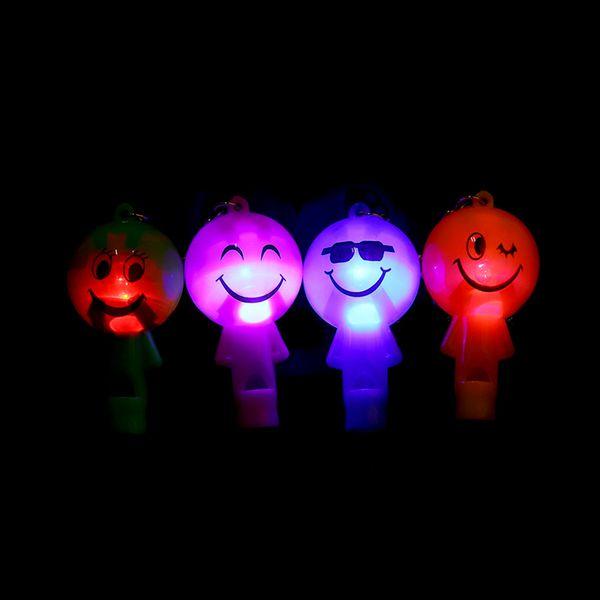 2Pcs Fashion Lovely Cartoon Smile Shape LED Plastic Whistle Pendant Key Chains Unisex Trendy Random Color Alloy Key Chains