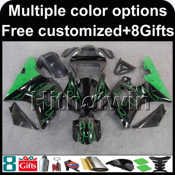 23colors+ Gifts+many paint scheme+green flames motorcycle Fairing for Yamaha YZFR1 2000 2001 YZF-R1 00-01 ABS plastic motor panels kit