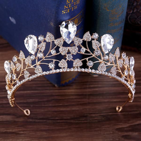 Кристаллы Свадебная Корона Свадебные Диадемы Принцесса Корона Ясно Королевский Синий Красный Зеленый Золото Горный Хрусталь Свадебный Тиара Корона Дешевые